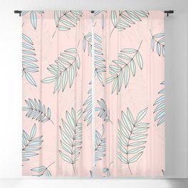 Good Vibrations / Pink Green Leaves Pattern Blackout Curtain