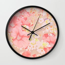 Carefree Pink Petunias Wall Clock