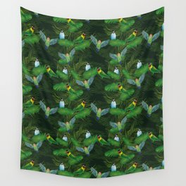 Lovebirds and tropical leafs Wall Tapestry