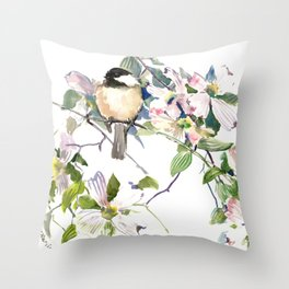 Chickadee and Dogwood Flowers Throw Pillow