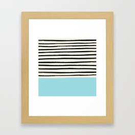 Sky Blue x Stripes Framed Art Print