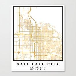 SALT LAKE CITY UTAH CITY STREET MAP ART Canvas Print