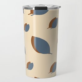 Blue leaves pattern on vanilla Travel Mug