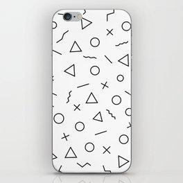 Memphis Geometry ((black on white)) iPhone Skin