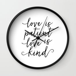 LOVE SIGN, Love Is Patient Love Is Kind,Love Art,Love Quote,Love Print,I Love You More,Valentines Da Wall Clock