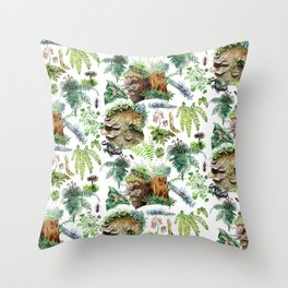 Mossy Forest Pattern White Throw Pillow
