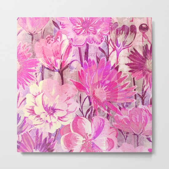 pink floral and words Metal Print