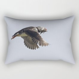 Atlantic puffin in flight with her sand eels Rectangular Pillow