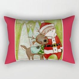 Travelin' Buddies - Santa and his reindeer friend by Diane Duda Rectangular Pillow