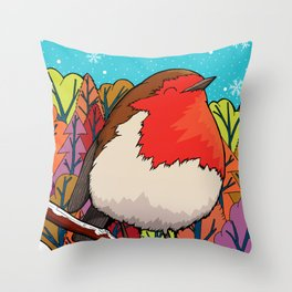 The Big Red Robin Throw Pillow