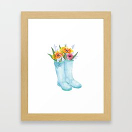 Garden Boots Bouquet Framed Art Print
