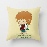 hobbit Throw Pillows featuring I'm not short, I'm a hobbit by mangulica