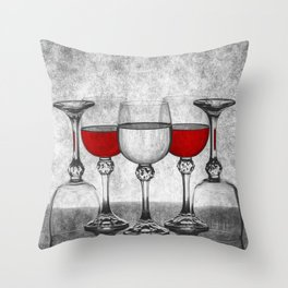 Still life with glass glasses with wine Throw Pillow