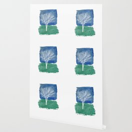 White Tree Watercolor Painting Wallpaper