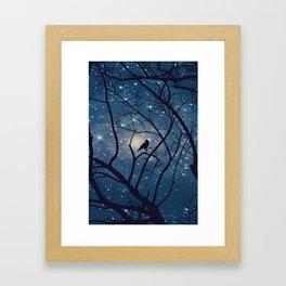 Moon light Crow Framed Art Print
