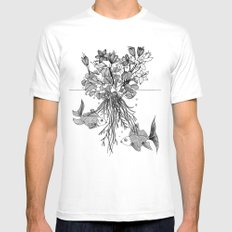 Waterlilies and goldfishes Mens Fitted Tee White MEDIUM