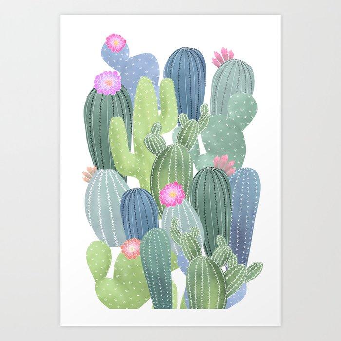 Cacti Love / Watercolor Cactus Pattern Art Print