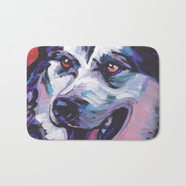Fun Alaskan Malamute Dog Portrait bright colorful Pop Art by LEA Bath Mat