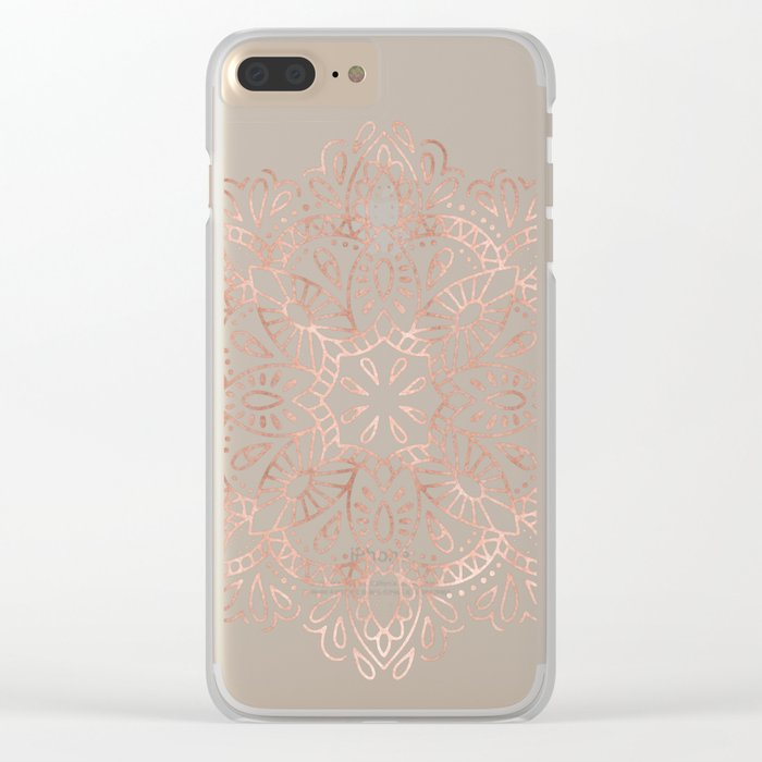 Mandala Rose Gold Pink Shimmer by Nature Magick Clear iPhone Case