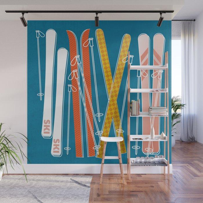 Colorful Ski Pattern Wall Mural