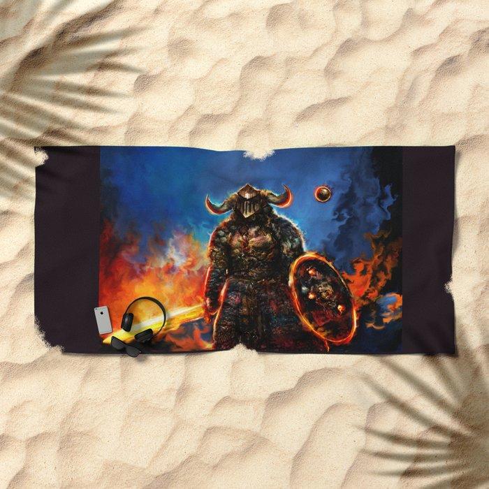 viking and his droid Beach Towel