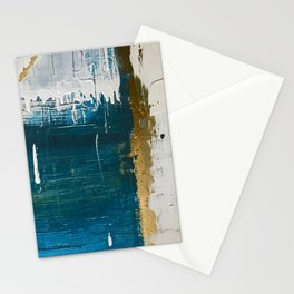 Rain [3]: a minimal, abstract mixed-media piece in blues, white, and gold by Alyssa Hamilton Art Stationery Cards