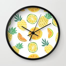 Fresh tropical fruits. Pineapple, orange, lime, grapefruit. Wall Clock