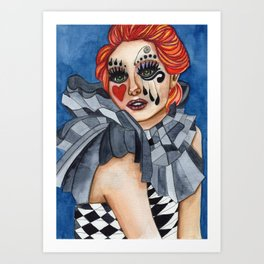 Harlequin - watercolor Art Print