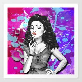 Retro Pinup Girl Blowing Bubbles Paint Splatter Art Print