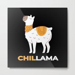 Llama Pajama Alpaca Gift Metal Print