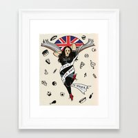 my mad fat diary Framed Art Prints featuring My Mad Fat Diary Oasis Rae Pin-up by Emma Munger