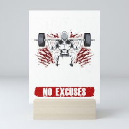 Shut Up And Squat: No Excuses Funny Gym Lifting Mini Art Print