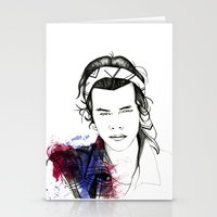 harry styles Stationery Cards featuring Harry Styles by Mariam Tronchoni