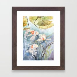Koi Fish Painting, Underwater Water Lily Framed Art Print