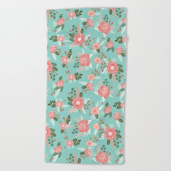 Flowers pastel mint painting watercolor abstract minimal gender neutral florals nursery baby kids Beach Towel
