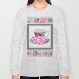 ABSTRACTEd PINK ROSE TEA TIME PORCELAIN ART Long Sleeve T-shirt