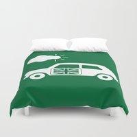 austin Duvet Covers featuring Austin Mini by Clemens Hellmund