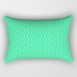 Heart Pattern Turquoise Mint Green and Butter Cream Yellow Romantic Country Design Pattern Rectangular Pillow