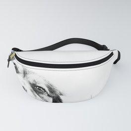 Dog peeking Black & White Fanny Pack