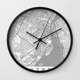 Montreal Map Line Wall Clock