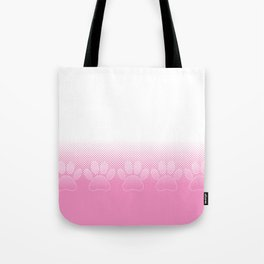 Pink And White Paws With Newsprint Background Tote Bag