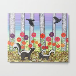 striped skunks, zinnias, birches, & crows Metal Print