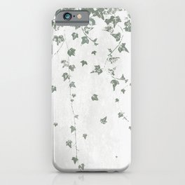 Gray Green Trailing Ivy Leaf Print iPhone Case