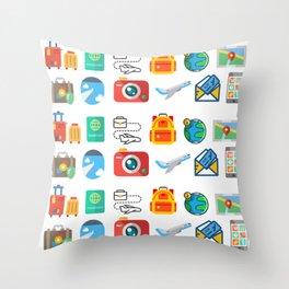 Travel Icons Throw Pillow