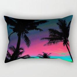 Deep Pink Palm Tree Sunset Rectangular Pillow