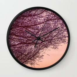 Purple Tree, Coral Orange Sky Wall Clock