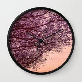 Purple Tree, Coral Orange Sky Wall Clock