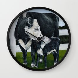 Mom and Baby Cows Wall Clock