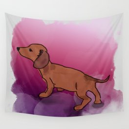 Pink Dachshund Wall Tapestry