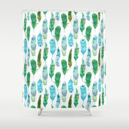 Watercolor Teal and Green Feathers Shower Curtain